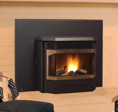 Greenfire GFI55 pellet insert with antique copper door overlay and ceramic log set.
