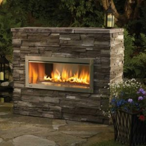 Heat glo outdoor lifestyles palazzo see through gas for Gas fireplace screened porch