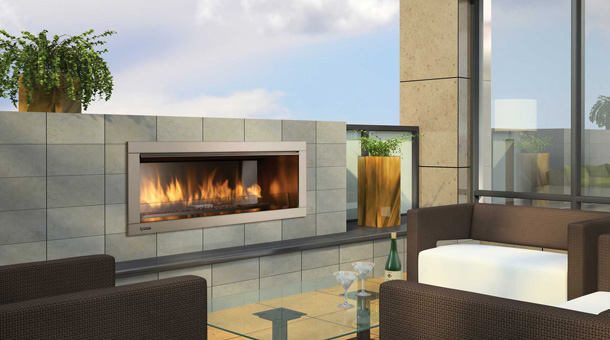 Regency horizon hzo42 outdoor gas fireplace portland for Contemporary ventless gas fireplaces