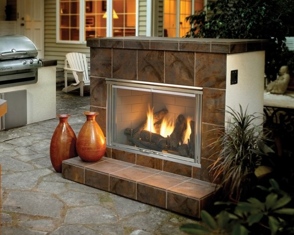 Enjoy the warmth of gas fire outdoors in the fall