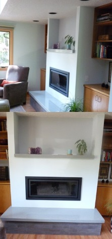 Custom contemporary gas fireplace