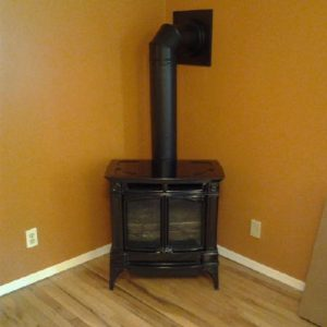 Basement free standing gas stove