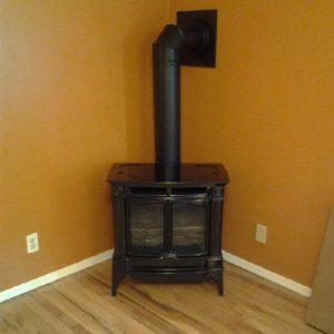 Basement free standing gas stove