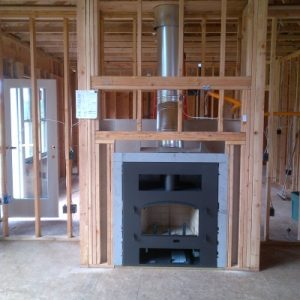 Wood burning fireplace in new construction