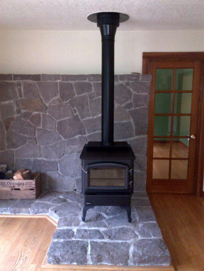 Wood Stove With Custom Brick Work Portland Fireplace Shop