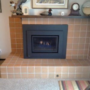 Custom sided corner fireplace
